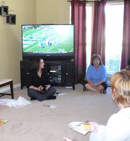 Football during a baby shower? Why not?